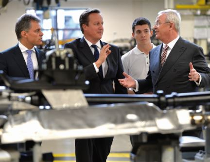 David Cameron visiting the Bentley factory in Crewe