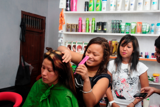 "Tejaswee Beauty Parlor in Pokhara is a joint venture of Bishnu Gurung, 24, and Amrita Thapa, 19, both AGEI graduates. The training gave them the confidence to start their own business, otherwise, ""we would just have been watching the days go by at home,"" say the women. Umesh Basnet / World Bank"