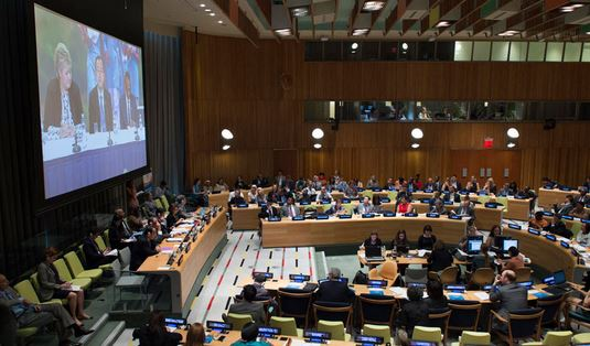A wide view of the meeting at the opening of the High-level Segment of ECOSOC's 2015 session. UN Photo/Eskinder Debebe