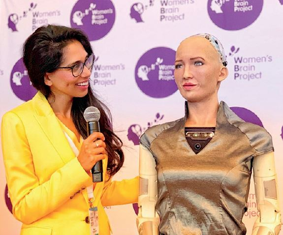 Forum snapshot: Sophia the Humanoid Robot being interviewed by Global Forum Ambassador Fagun Thrakar. Photo Credit: WBP