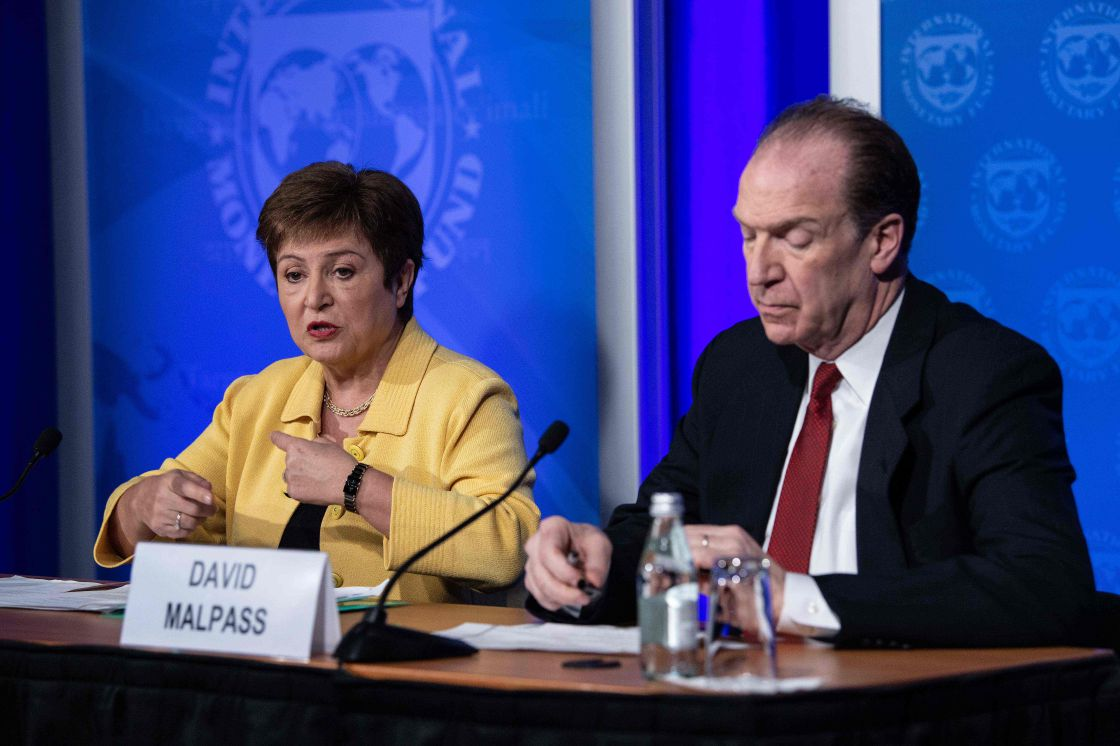 IMF MD Kristalina Georgieva (left) speaks at a press briefing with World Bank president David Malpass on Covid-19 in Washington, DC, the US, March 4 2020. Picture: AFP/NICHOLAS KAMM