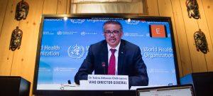 WHO Director-General Tedros Adhanom Ghebreyesus briefs virtually on the COVID-19 pandemic in Geneva. Source: UN Photo/Eskinder Debebe