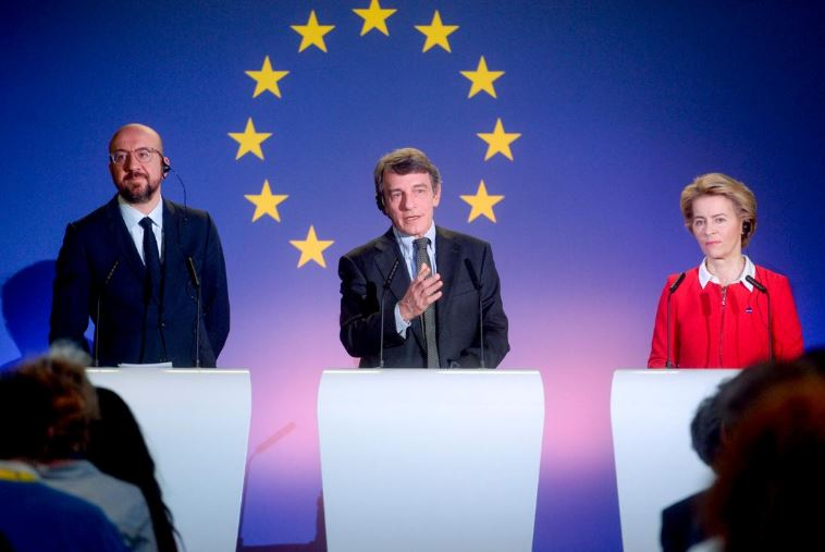 (From left) Charles Michel, David Sassoli and Ursula von der Leyen