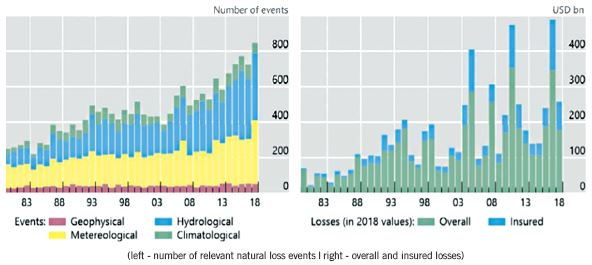 (left - number of relevant natural loss events | right - overall and insured losses) Chart 2: Increase in the number of extreme weather events and their insurance (1980-2018).  Source: Bolton et al,  The green swan - central banking and financial stability in the age of climate change, BIS, Jan. 2020  (data from MunichRe, The Natural Disasters of 2018 in Figures)