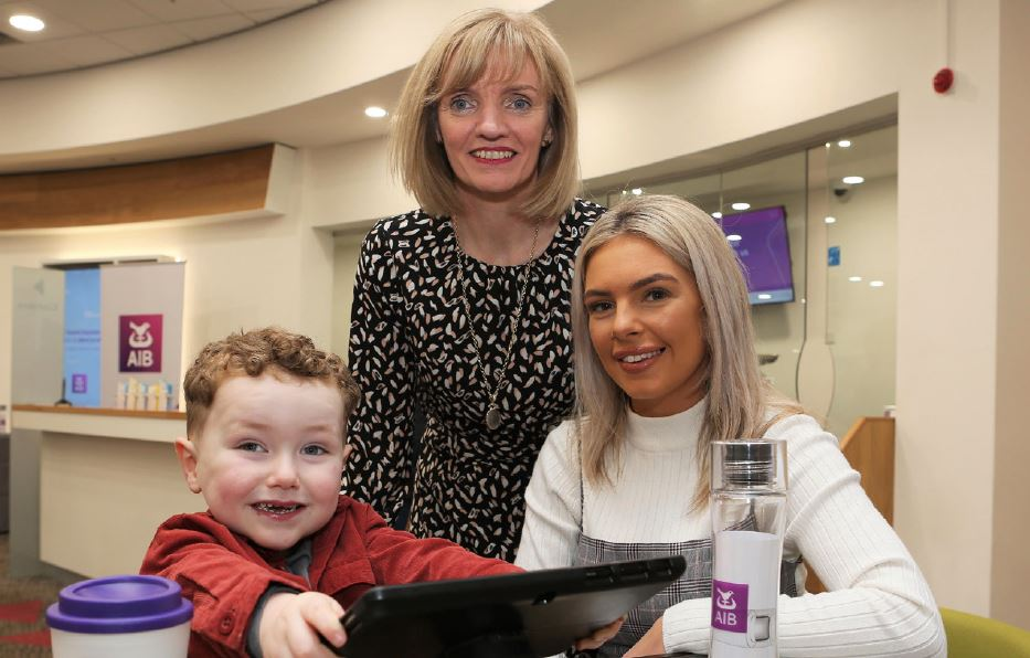 Pictured at AIB Meadowbank's rebrand celebration is Chloe Higgins and Noah with Siobhan McElhinney, AIB Meadowbank Branch Manager.
