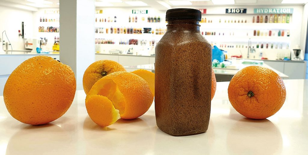 The AMC's Bio-bottle made from citrus peels from their own squeezing process and potato starch