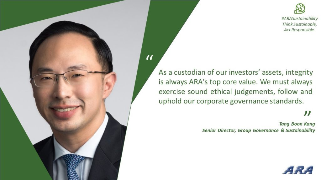Quote from ARA Senior Director, Group Governance & Sustainbility