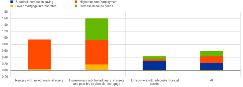 Figure 2 - Effects of a 100-basis point cut in interest rates on consumption in the euro area, depending on household wealth